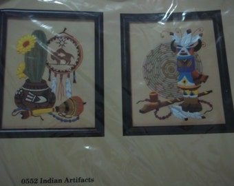 """embroidery needlecraft kit - INDIAN ARTIFACTS - 2 Designs to embroider - Creative Circle embroidery - finished size 8"""" x 10"""" - unused"""