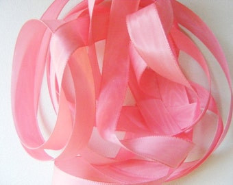 Vintage 40's French Rayon Moire Ribbon 11/16 inch -Milliners Stock- Bright Pink