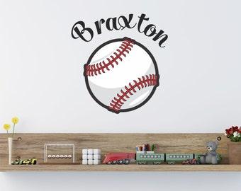 Baseball Custom Name Vinyl Wall Decal Sticker