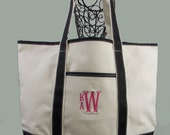 Personalized Canvas Boat/Beach Boat Bag Tote In Natural With Black Trim