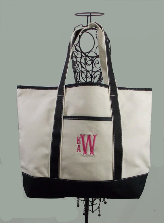 Extra Large Personalized Heavy Duty Canvas Boat/Beach Boat Bag Tote In Natural With Black Trim
