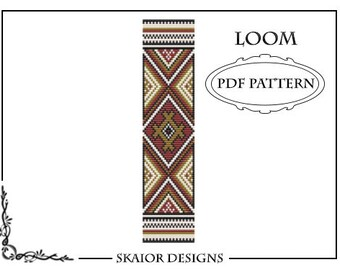 Bead Loom Pattern Native American Tribal Ethnic Seed Bead Pattern Square Stitch Bracelet Beaded Pattern Geometric Red BEADING PATTERN
