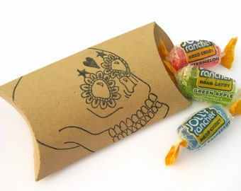 Day of the Dead Pillow Boxes, Calavera, Sugar Skull, Halloween, Halloween Packaging, Halloween Treat Boxes, Halloween Party Supplies, Candy