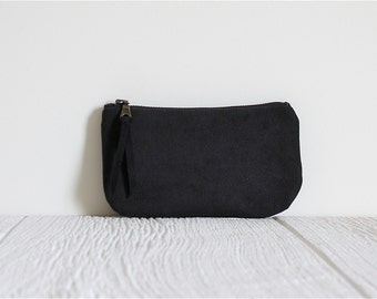 Vegan Suede Clutch, Black Clutch, Bridesmaid Gift, Ecofriendly Purse