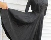 Vintage 1950s Full Circle Skirted Black Satin Party Dress S 4 6