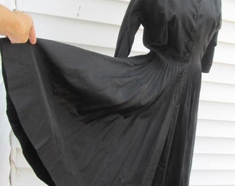 Vintage 1950s Full Circle SWING Black Satin Party Dress S 4 6