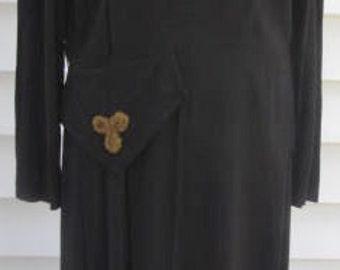 Vintage 1940s Black Rayon w Gold Beads Swing Dress M L 8 10 12