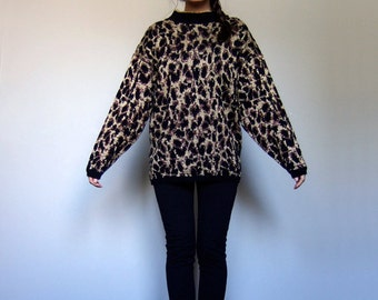 Vintage Leopard Print Knit Sweater 80s Metallic Gold Bronze Jumper Oversized - Small. Medium. S/ M