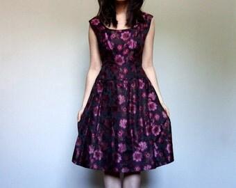60s Floral Party Dress Black Pink Summer Cocktail Dress 1960s Drop Waist Dress - Medium Large M L