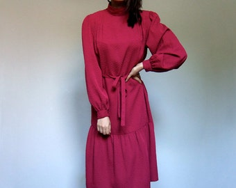 80s Raspberry Dress Simple Day Dress Casual Long Sleeve Fall Dress Ruffle - Large L