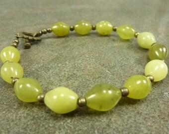 Olive Jade Bracelet Antiqued Brass Toggle