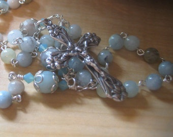 Beautiful HANDMADE Heirloom Quality Solid STERLING, Multi-Aquamarine and Amazonite Gemstone Catholic Traditionally Linked FIVE Decade Rosary