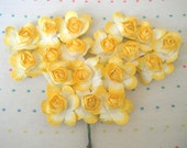 Yellow Paper Millinery Flowers, Large Sized, Roses (18)