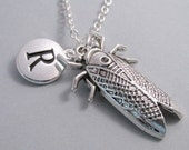 Cicada Bug Insect Charm Necklace, Bug Keychain, Silver Plated Charm, Initial Charm, Engraved Initial, Personalized, Monogram