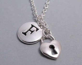 Heart with Keyhole Charm Necklace, Heart Keychain, Sterling Silver Charm, Engraved Initial, Personalized, Monogram