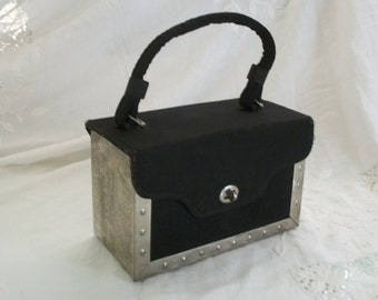 1940s Minaudiere Metal and Material Box Style Purse Very Unique