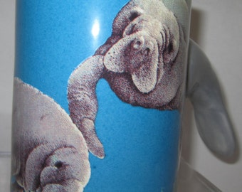 A  Manatee Mug - Sea life - Blue~Item 4095