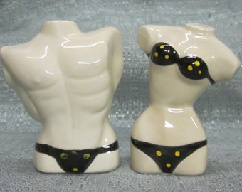 Sale 50% ~ A Man and Women Swimwear  Salt and Pepper Collectables