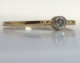 Retro Diamond in Contemporary 14k Yellow Gold Bezel Ring, Handmade in Maine