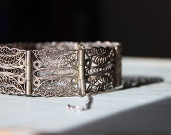 Vintage 1920s Filigree Bracelet Downton Abbey Style