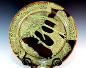 Stoneware Platter in Woodland Green / Brown Glaze / Serving / Dining / Dinnerware / Home Decor