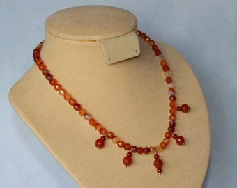 Agate gemstone beads necklace, gold plated clasp.