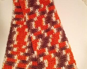 70s crochet scarf tassel muffler fringe grunge boho bohemian artist hippie orange