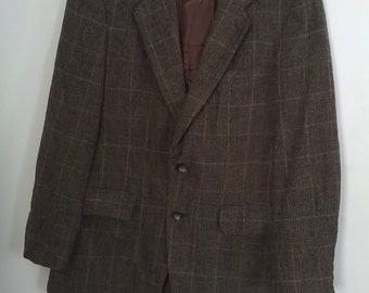 Kuppenheimer mens wool tweed suit 80s coat jacket knit blazer 40 42 Mad Men boho tailored brown plaid tartan