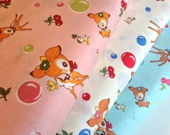 CLEARANCE, Japanese, ATSUKO MATSUYAMA, 30's Collection, Vintage Deers & Cherries, Fat Quarter Bundle of 3