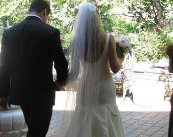 Straight cathedral length Wedding Bridal Veil 108 inches white, ivory or diamond