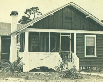 A Lovely Summer Home Florida House Palm Screened in Porch RPPC Real Photo Postcard Vintage Antique Black White Photo Photograph
