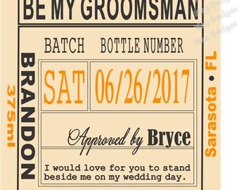 Groomsman Liquor Labels - Custom Wedding Labels - Groomsman Liquor Labels - Bourbon - Whiskey - Best Man Labels - 6 Labels
