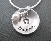 Hidden Baby Feet - Hand Stamped Mommy Necklace - Silver Tone Personalized Jewelry - Great Gift for New Mom/Mother's Day