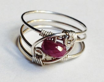 Ruby Ring   Ruby Jewelry  Ruby Gemstone Ring   Red Ruby Ring   Sterling Rings for Women