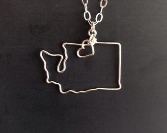 Washington Necklace - Washington State Necklace - PNW Necklace - Custom State Love Necklace - All States Available