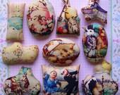 Set of 10 New Easter Ornies Tucks Bowl Fillers Bunny Chick Nostalgic Spring Shelf Sitter Vintage Pillows Gift Teacher Mom