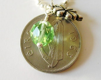 AUTHENTIC 1963 IRISH  Coin Charm Necklace-1963 Ireland Wolf Hound 6 Pence