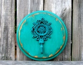 Wall Hook, Turquoise, Cast Iron, Decorative Hook, Painted Wood, Distressed, Shabby, Key Hanger, Coat Hanger, Towel Hanger, Entryway Hook