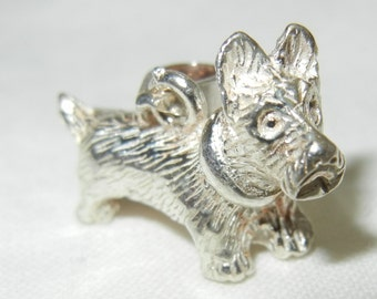 Scottie Dog Pendant Sterling Silver Charm Solid 925 Canine Friend Terrier Scotty