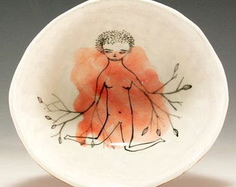 Must Have Jenny Mendes  Decorated Ceramic Pinched Bowl - The Gardener