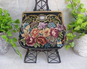 Antique Edwardian Black Petit Point Purse with Autumn Floral Designs...Evening Purse...Downton Abbey