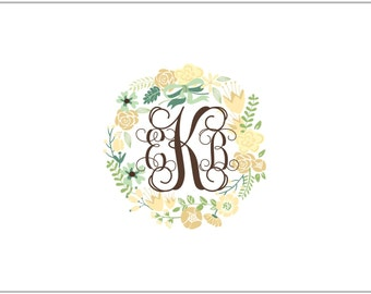 Monogram and Wreath Large Fold Over Note Cards- CHOCOLATE