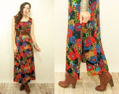 1970's Vintage Abstract Floral Checkered Tank Top Maxi Dress / Side Leg Slits