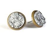 Silver textured stud earrings - Faux Druzy earrings - Textured earrings - Post earrings - Nickel lead free (772) earrings