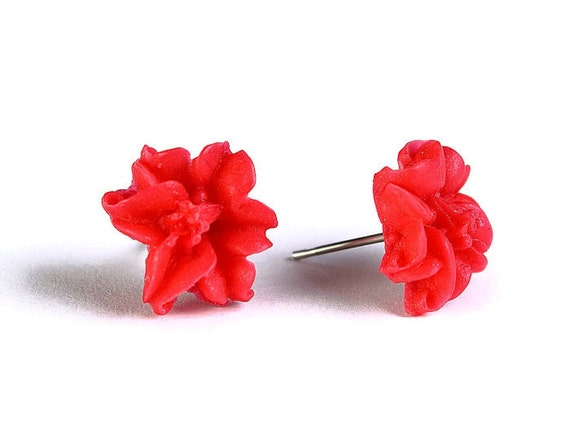 Sale Clearance 20% OFF - Coral red lily flower surgical steel hypoallergenic post earrings READY to Ship (262)
