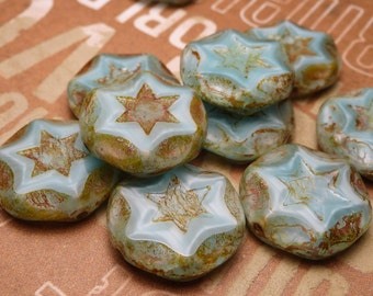 Sky Blue Satin Glass Star Beads 15mm - 4pc