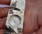 NEW Israel Original Handmade Fine Silver Massive Bracelet Watch (s w3906)