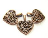12 Antique copper heart charms, filigree heart dangle, diy jewelry supply wine glass charms 16mm x 14mm  Ya1123