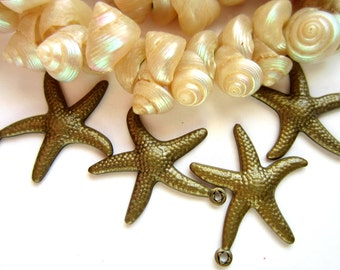 12 Starfish pendants antique bronze jewelry supply 21mm x 22mm earring dangles bracelet charms KK28