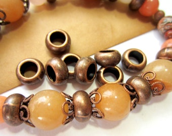 30 Antique copper beads large hole beads spacers focals 10mm x10mm lead nickel free 489Y,